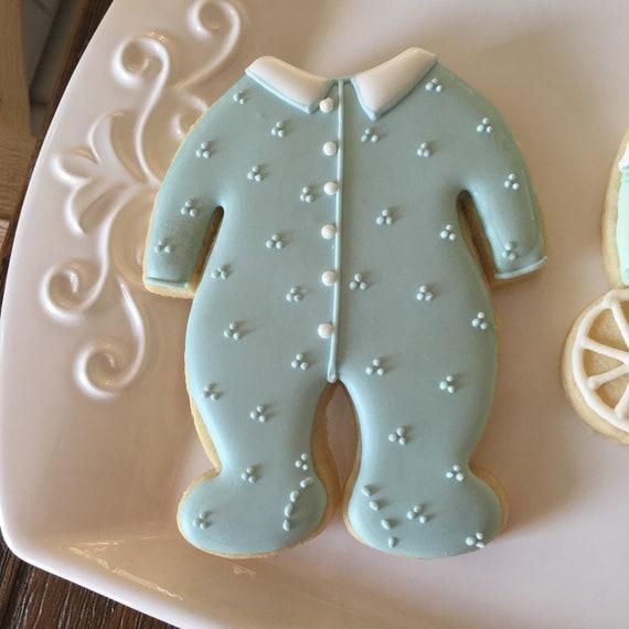 12 Boy's All-in-one Footsie Pajama Cookies for baby showers or birthdays, baby onesie cookies