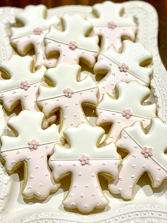 Crucifix or Cross Cookies with Blossom Accent for Christening or First Communion, 12 Pieces