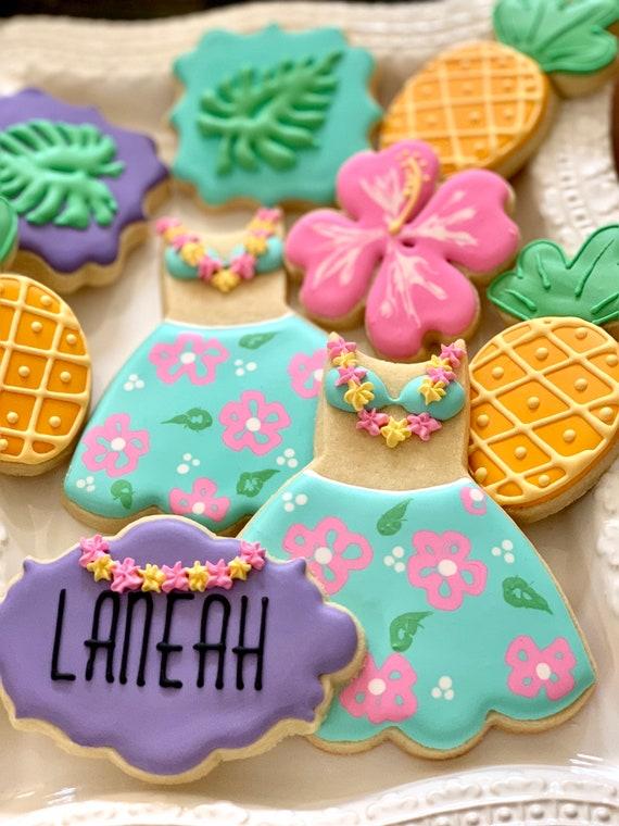 12 Hawaiian Theme Cookies- Birthday, Shower Wedding Luau