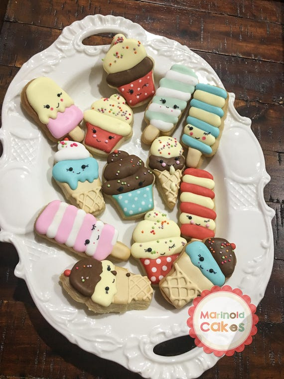 Mini Size Ice Cream Themed Sugar Cookie Party Favors, Kawai