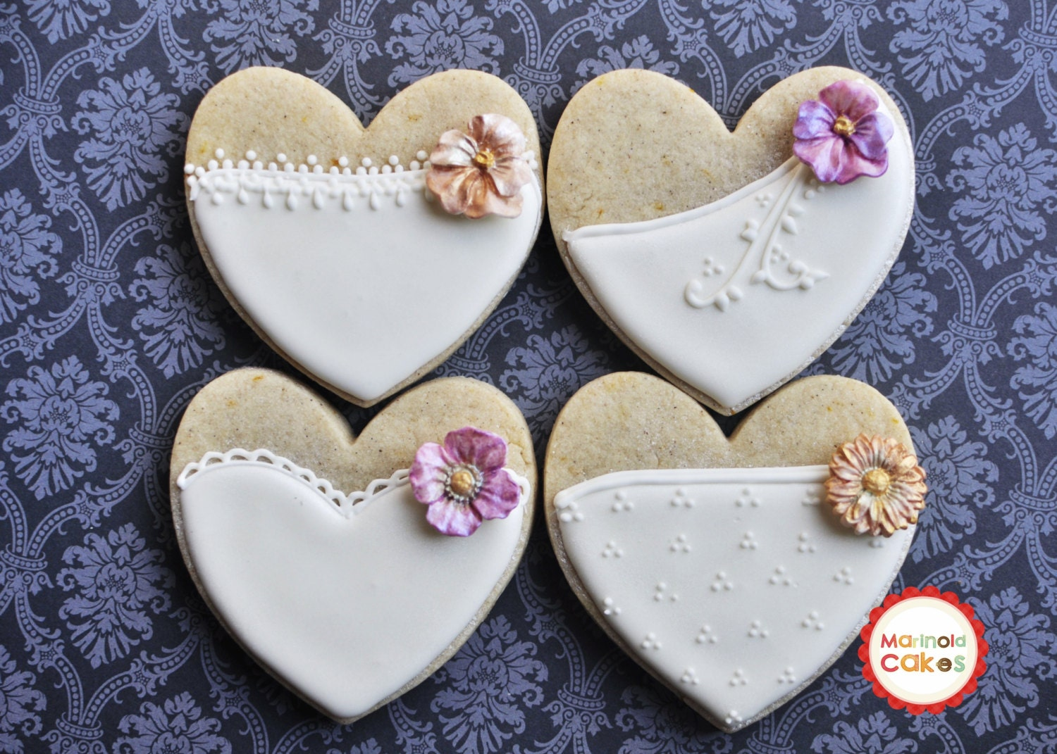 Cookie Wedding Favor- 1 Dozen Bride Heart Cookie Favors, Wedding ...
