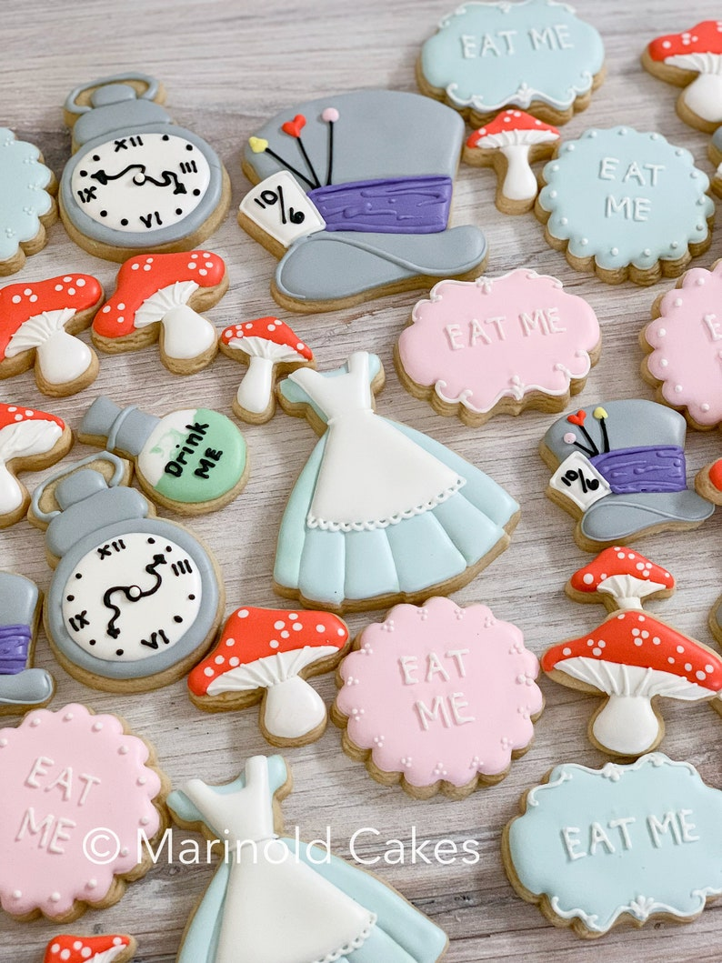 Alice Inspired Cookie Favors 12 Pieces image 0