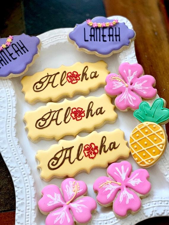 Hawaiian Themed 50th Birthday Plaque Cookies- 12 Pieces Birthday, Shower Wedding Luau