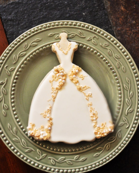 Wedding Dress Cookies- 8 PIECES , Embroidered  Full Skirt Wedding Gown Cookies,  Bridal Shower Cookies, wedding gown cookies