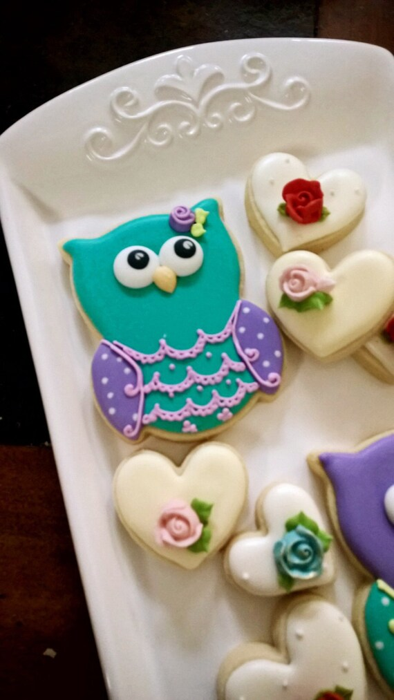 Owl Cookies-12 Decorated Owl Sugar Cookies-Party Favors for Birthdays and Baby Showers