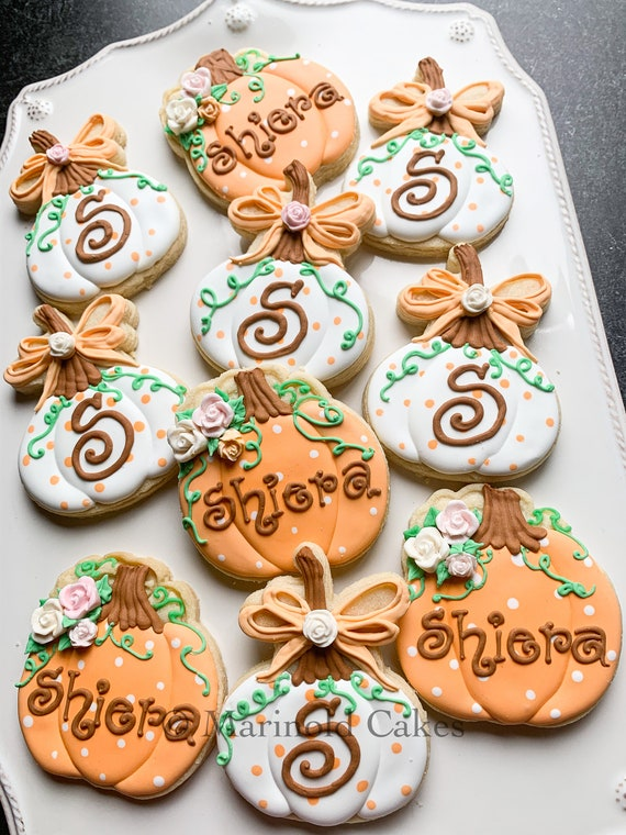 12 Girly Pumpkin Cookies with Name and Monogram for Baby Showers, Birthdays, Thanksgiving, Weddings.