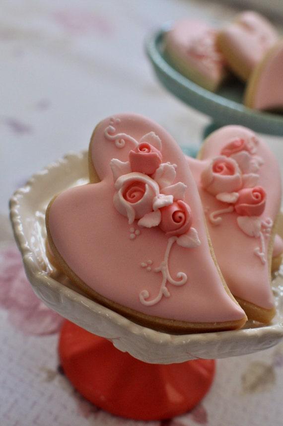 2 Dozen Large Folk Art Heart Cookie Favor-Shabby Chic Wedding Favors, Bridal Showers, Bridemaids Gifts, Baby Showers