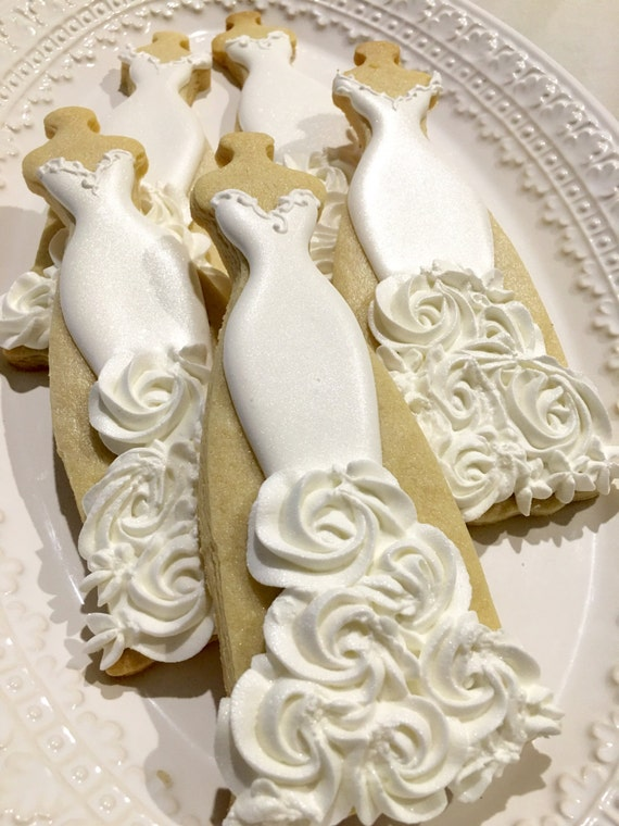 10 Bridal Wedding Dress Cookies with Rosette Design for Wedding Favors, Bridal Showers, Bridesmaid Proposals