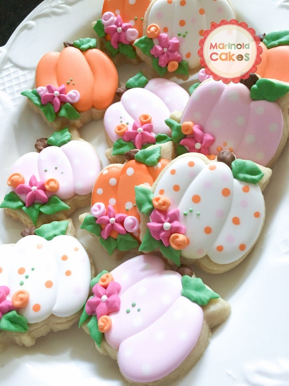 24 Mini Pumpkin Cookies for Baby Shower or Birthday