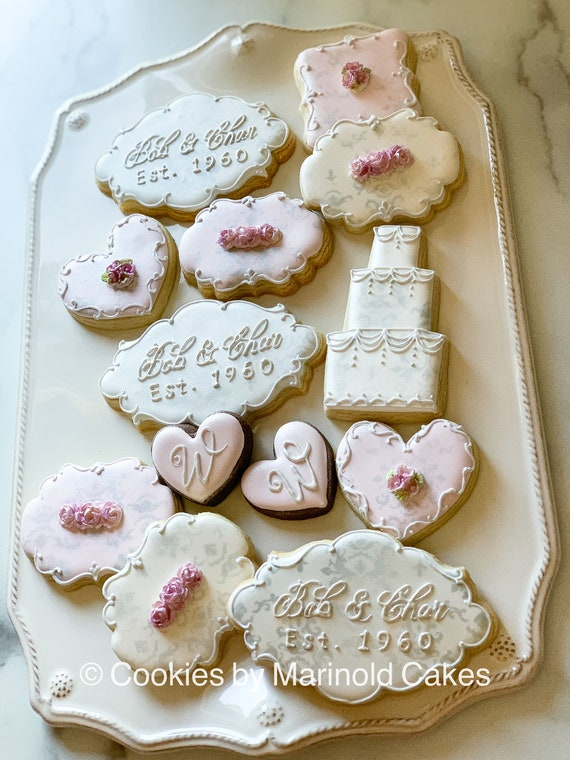 Silver and Blush Wedding or Anniversary Cookies, 12 Pieces