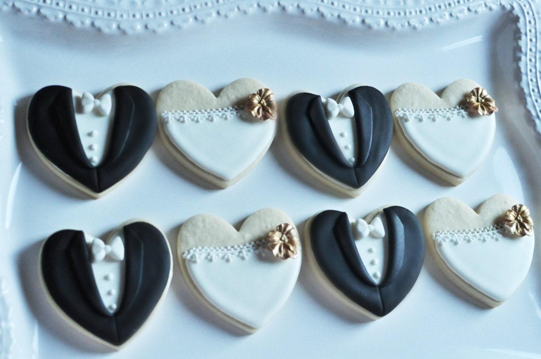 Orchid Bride And Groom Wedding Favor Cookies 1 Dozen 6 Pair Set