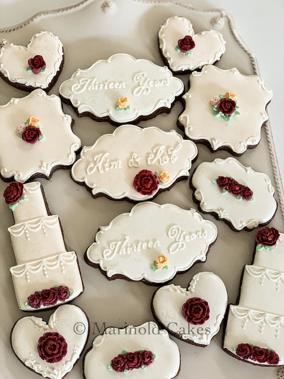 Cream, Blush and Wine Wedding or Anniversary Cookies, 12 Pieces