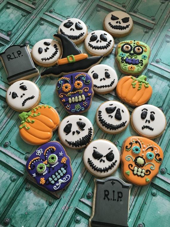Halloween Cookies 1 Dozen- Day of the Dead Cookies, Ghost, Skull, Pumpkin