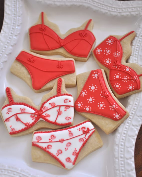 12 Pieces Lingerie, Brassiere and Panty Sets, Bridal Shower Cookie Favors - 6 Pairs, Wedding, Bachelorette, Bridal Shower Cookies