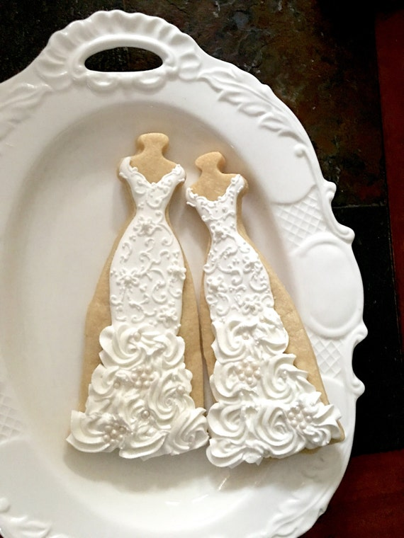 10 Lace, Rosette Ruffles, and Pearls Gown Cookies-Lace Wedding Dress Cookies,  Bridal Shower Cookies,