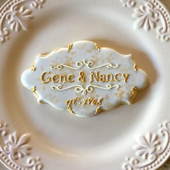 Marie Antoinette Inspired Message or Monogram Cookies, 12 Pieces