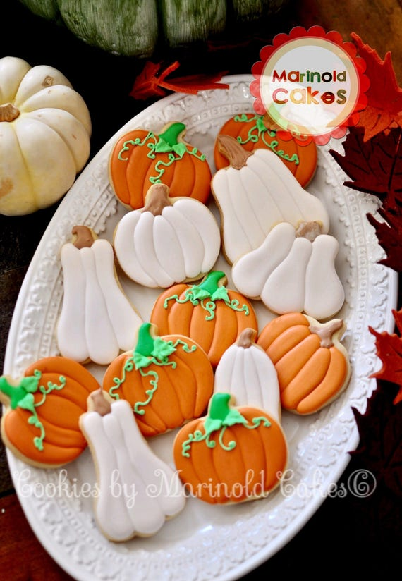 Assorted Pumpkin Cookies for Halloween or Thanksgiving