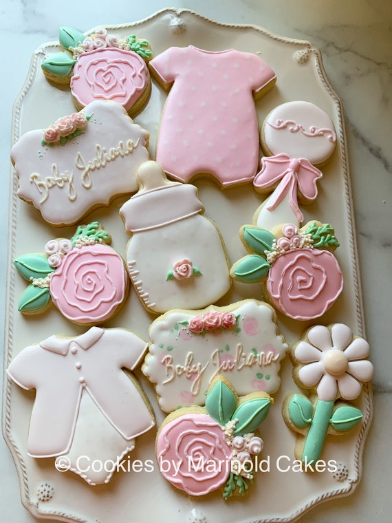 Flower and Dots Themed Cookies for Baby Shower