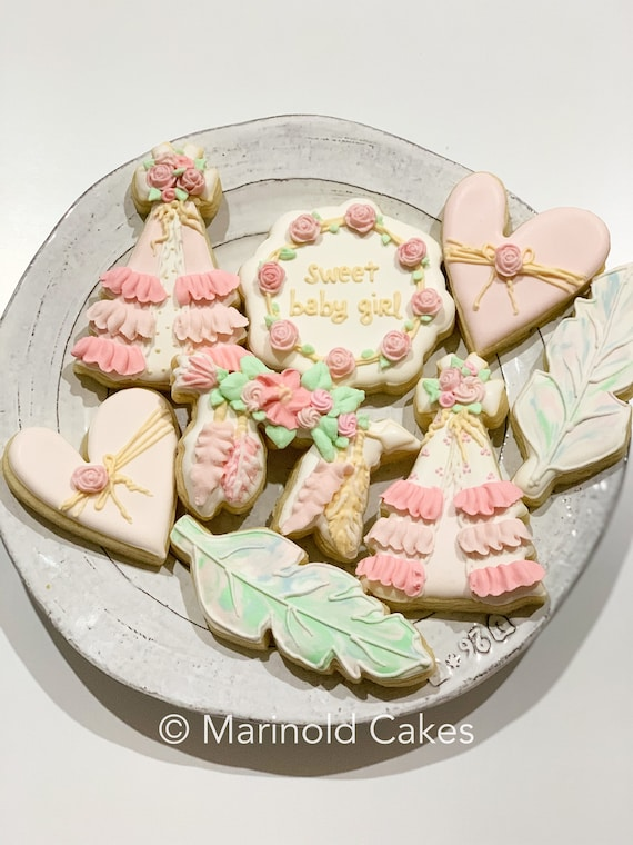Boho Themed Pink Cookies, 12 Pieces