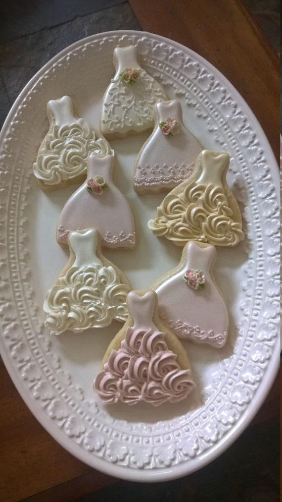 24 Pieces Petite Sized Wedding Dress Cookies - Cookie Favors, Wedding Cookies,  Bridal Shower Cookies, wedding gown cookies