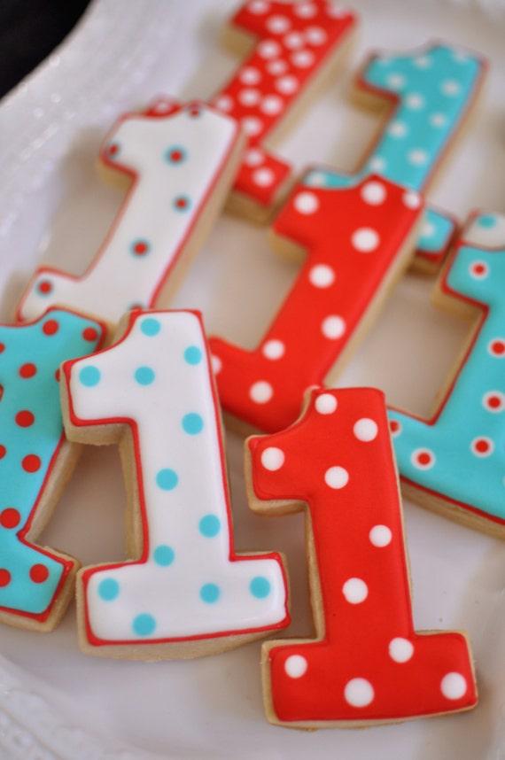 Number 1 Cookies - 2 Dozen Cookie Favors, Baby Shower, Birthday Cookies