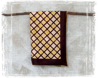 Vintage Scarf, 1960s Scarf, Twill Scarf, Rain Scarf, Square Scarf, Womens Scarf, Brown, Yellow