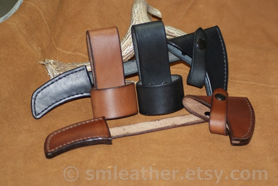 Hand Crafted Leather Tomahawk Hatchet Belt Carry Leather Loop Carrier Holster