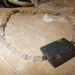 """55. Serpentine, Rose Quartz and Horn  ~a """"Throwing Stones at Glass Hearts"""" NECKLACE!"""