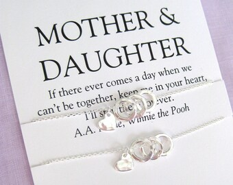 Mother Daughter Necklace, Sterling silver, 60th Birthday Gift for mom, Mother Daughter Jewelry, Mother of Bride Gift, Mom Gifts
