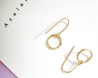 Circle Gold Earrings, 14k Gold Filled, Gold Earrings, Circle Earrings, Simple Gold Dangle Earrings   Hammered Gold hoops