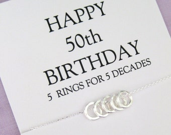 50th BIRTHDAY Gift Necklace Birthday Jewelry For Her 5 Solid Sterling Silver Circles Ideas