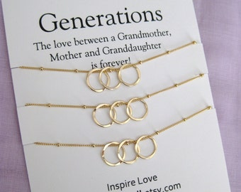 Mom Gifts Generations Necklace GRANDMOTHER Mother Daughter 60th Birthday Gift For Women