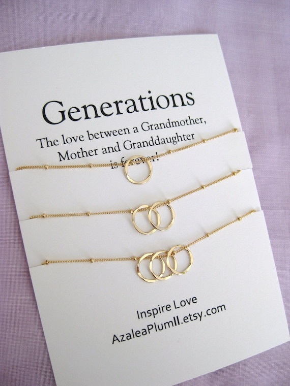 Mother Daughter Necklace Generations Mom Birthday