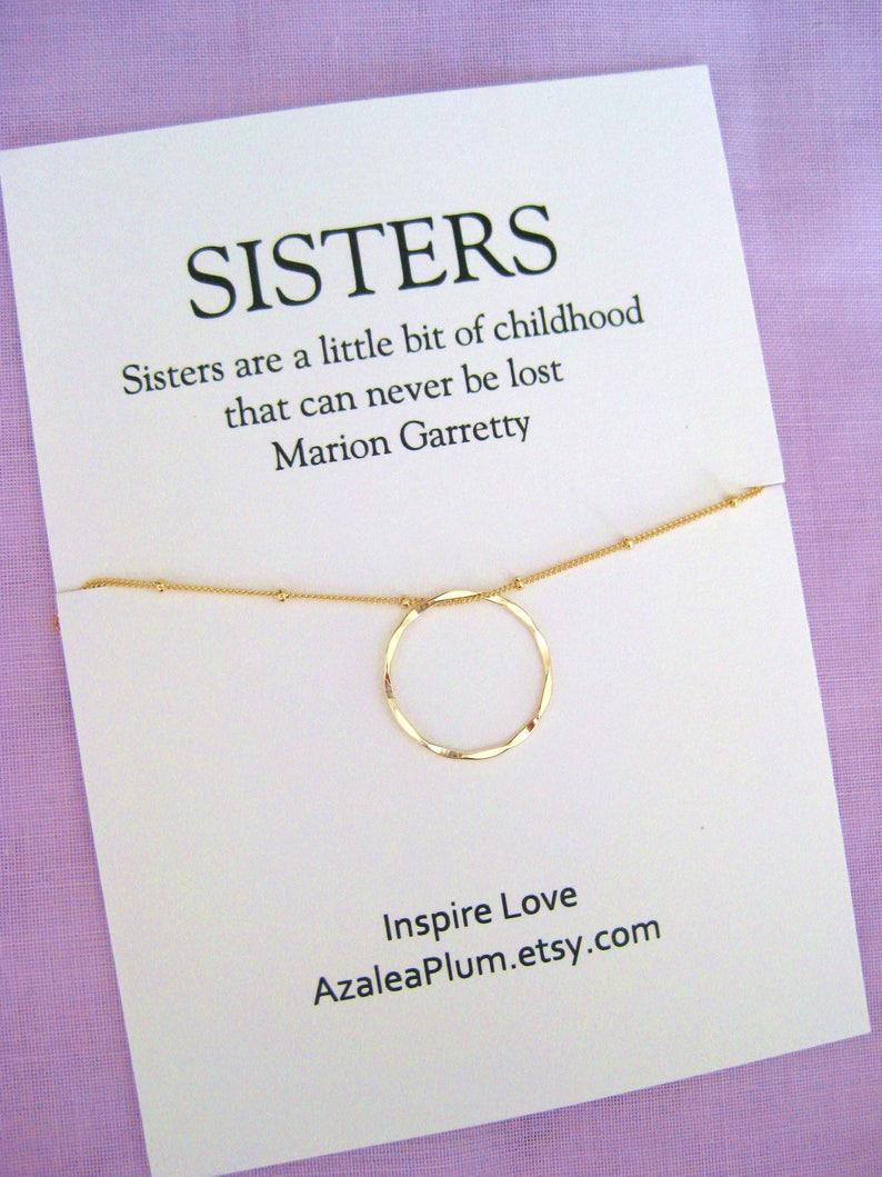50th Birthday Gift For Sister Gold Circle Necklace