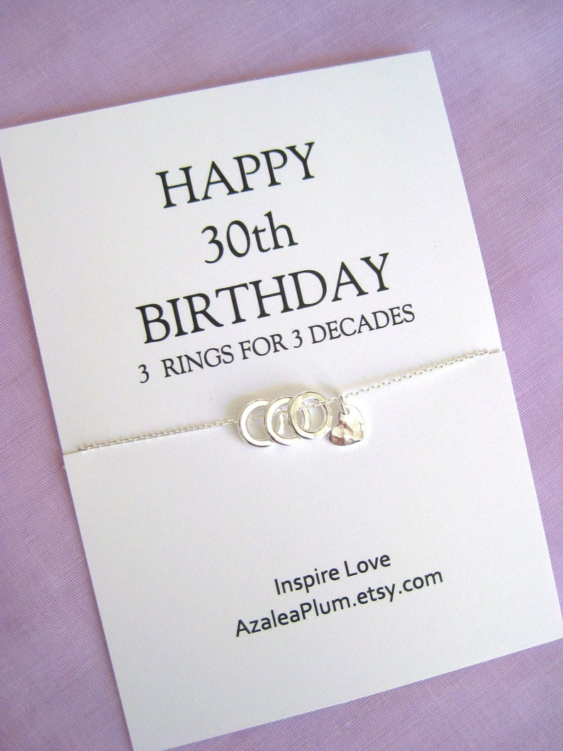 30th Birthday Gift For Her Solid Sterling Silver Necklace