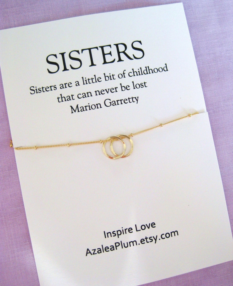 30th Birthday Gift Necklace Jewlery For Her Sister 2 Gold Circles