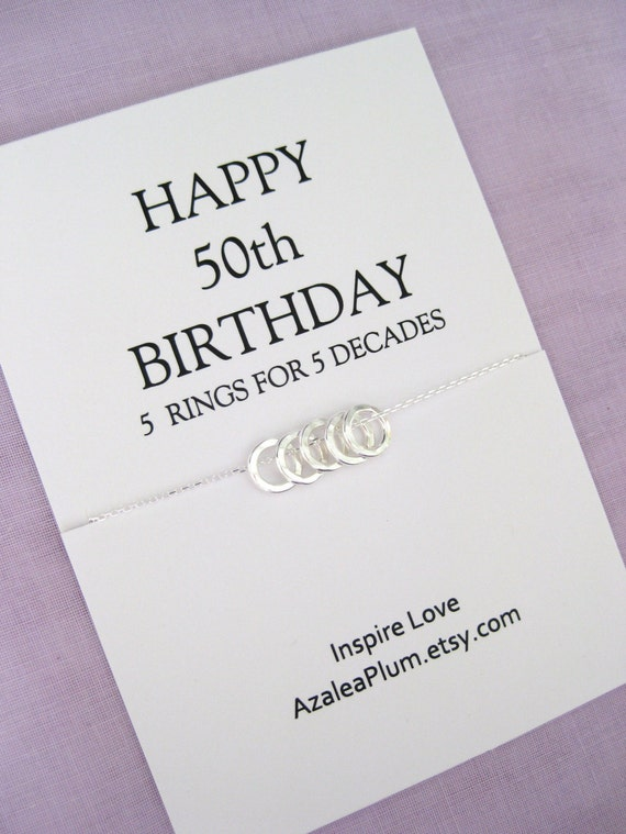50th BIRTHDAY Solid Sterling Silver Necklace Birthday