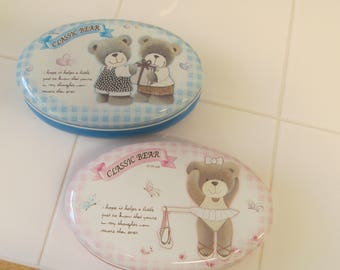 Vintage Teddy Bear Tin - Great for Baby Showers!  - Pink or Blue - Cute Party Gift or Favor