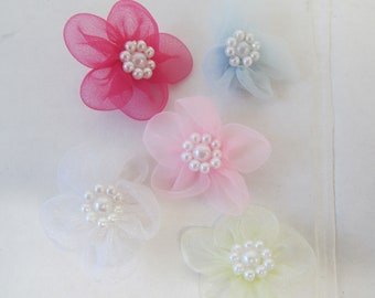 Mini Bow Flowers with Pearl Center for Craft Projects or Baby Shower Decorations