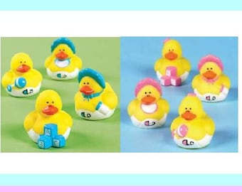 Baby Ducks for   Baby Shower Favors  or  Craft Supplies  - Pink or Blue - Set of 8 FREE SHIP - Great for Cake Topper or Cup Cake Toppers