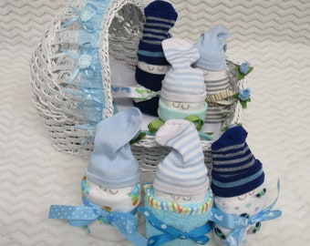 Diaper Babies in Decorated Cradle for Baby Gift or Baby Shower Centerpiece - Blue Ribbon/Flowers (Please read Ad Below to See What you Get