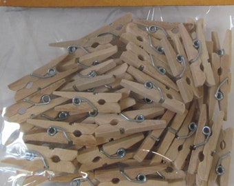 Mini Wooden Clothes Pins for Baby Shower Or Party - Craft Supplies  -Set of 48 - Great for Party Games - Great for DIY Craft Projects