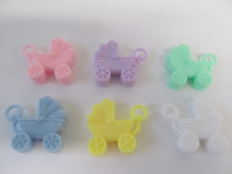 Mini Baby Carriage Charms for Baby Shower Or Party  Set of 6 image 0