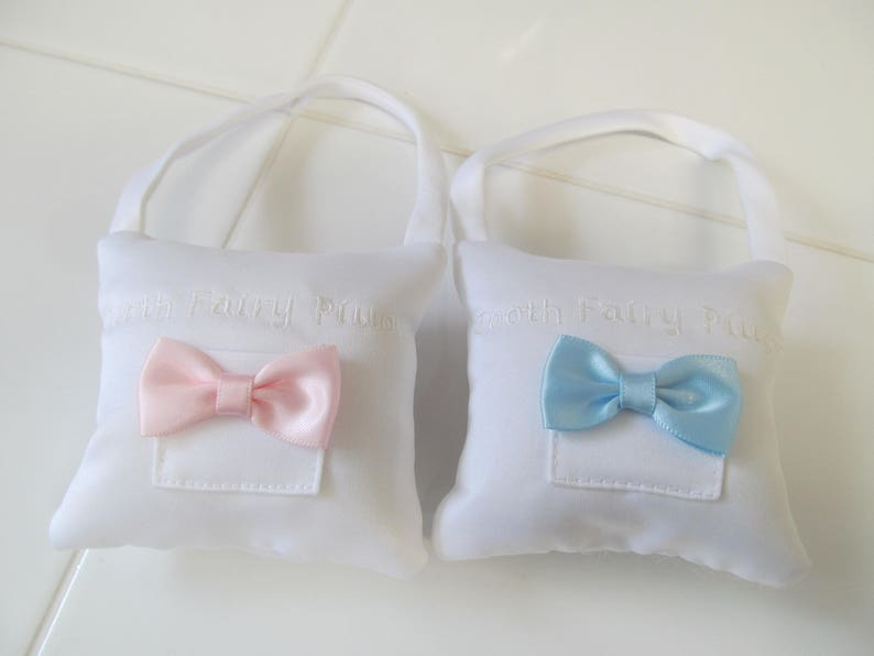 Tooth Fairy Pillow  CLOSEOUT SALE 8.00   Pink or Blue Bow  image 0