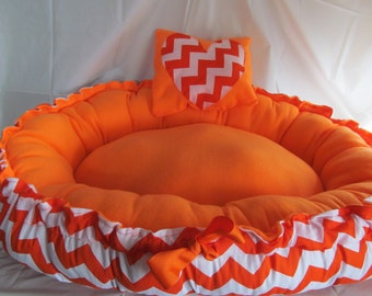 Chevron Print Puppy Bed that Turns into Full Size Dog Bed - With Pillow  ***PLEASE READ AD for Details and Dimensions