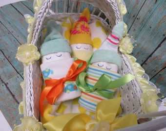 Diaper Babies in Decorated Cradle for Baby Gift or Baby Shower Centerpiece - Yellow Ribbon/Flowers (Please read Ad Below to See What you Get