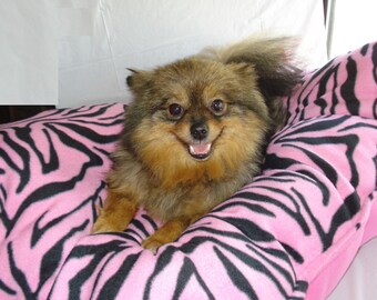 Pink Zebra Print Dog Pillow and Dog Blanket - ***PLEASE READ AD for Details and Dimensions