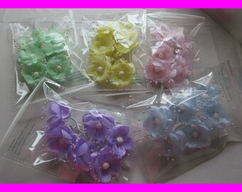 Silk Pansies with Pearl Beads for Craft Projects or Baby Shower Decorations