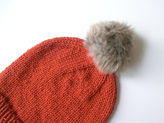 Chunky Winter Wool Rusty Orange Red Womens Hand Knitted Bobble Hat Slouchy Beanie Bobble Hat With Faux Fur Pom Pom