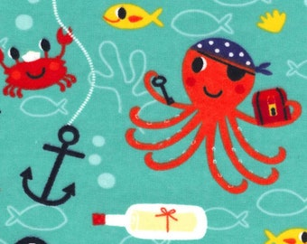 100% Cotton Flannel Day Care Cot Sheet - Pirate Sea Creatures Fish Octopus